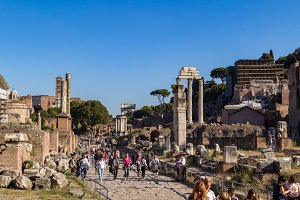 Tourists in the Forum Romanum Rome.