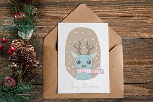 set of Christmas cards with animals