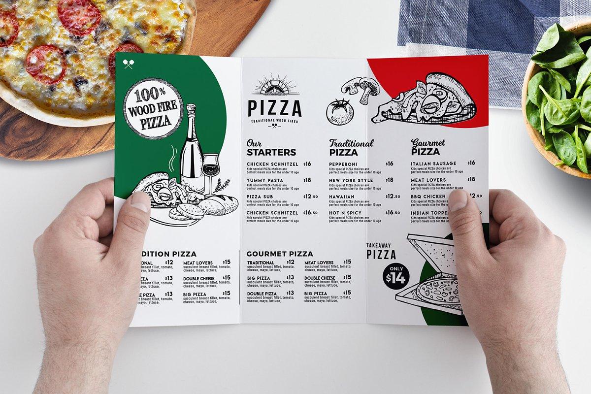 tri fold pizza menu template in psd ai vector brandpacks.html