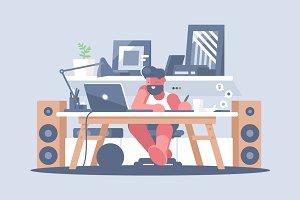 Freelancer works with laptop