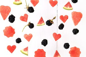 Berry pattern watermelon figs blackberries on white background.Flat lay, top view