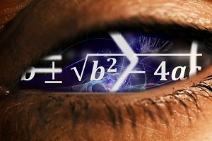 Eye iris with math equations mess inside