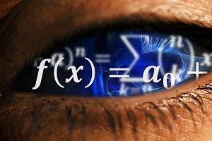 Eye iris with math equations mess inside