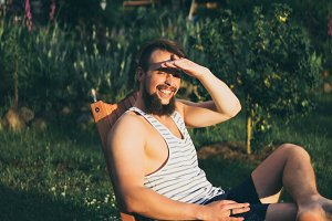 Bearded man enjoys the sunset