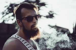 bearded man in sunglasses