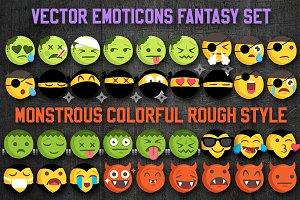 Fantasy Rough Style Emoji Set