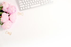 Styled photo - peonies & keyboard