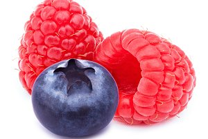 Raspberries and blueberry isolated