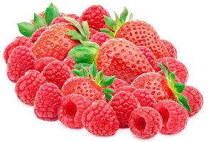 Raspberries and strawberries isolated