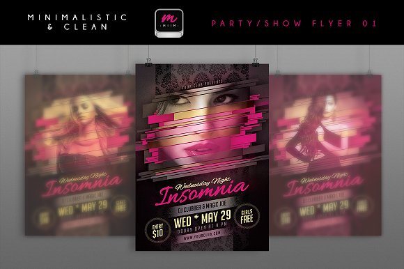 Minimalistic Party/Show Flyer 01 in Flyer Templates