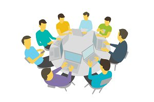 Round-table talks. Group of people students team having meeting conference. White background stock illustration vector