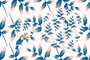 tropical vector pattern with toucan