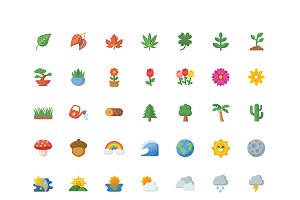 Nature Emoji - 49 Vector Icons