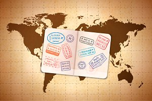 Open foreign passport with stamps