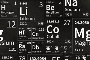 Chemical elements table on black