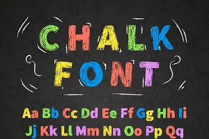 colorful retro hand drawn chalk font