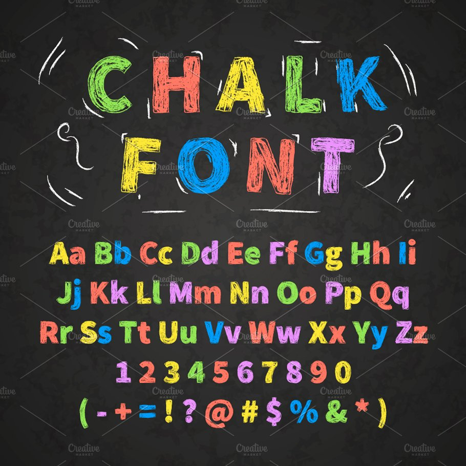 Colorful Retro Hand Drawn Chalk Font Graphic Objects