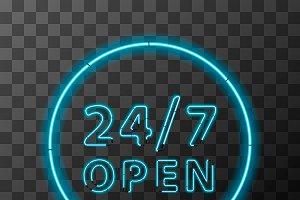 Bright realistic neon 24/7 sign
