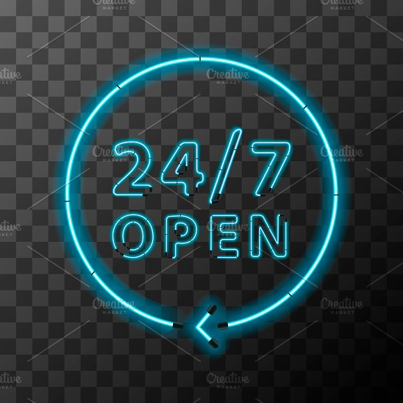 Bright Realistic Neon 24 7 Sign