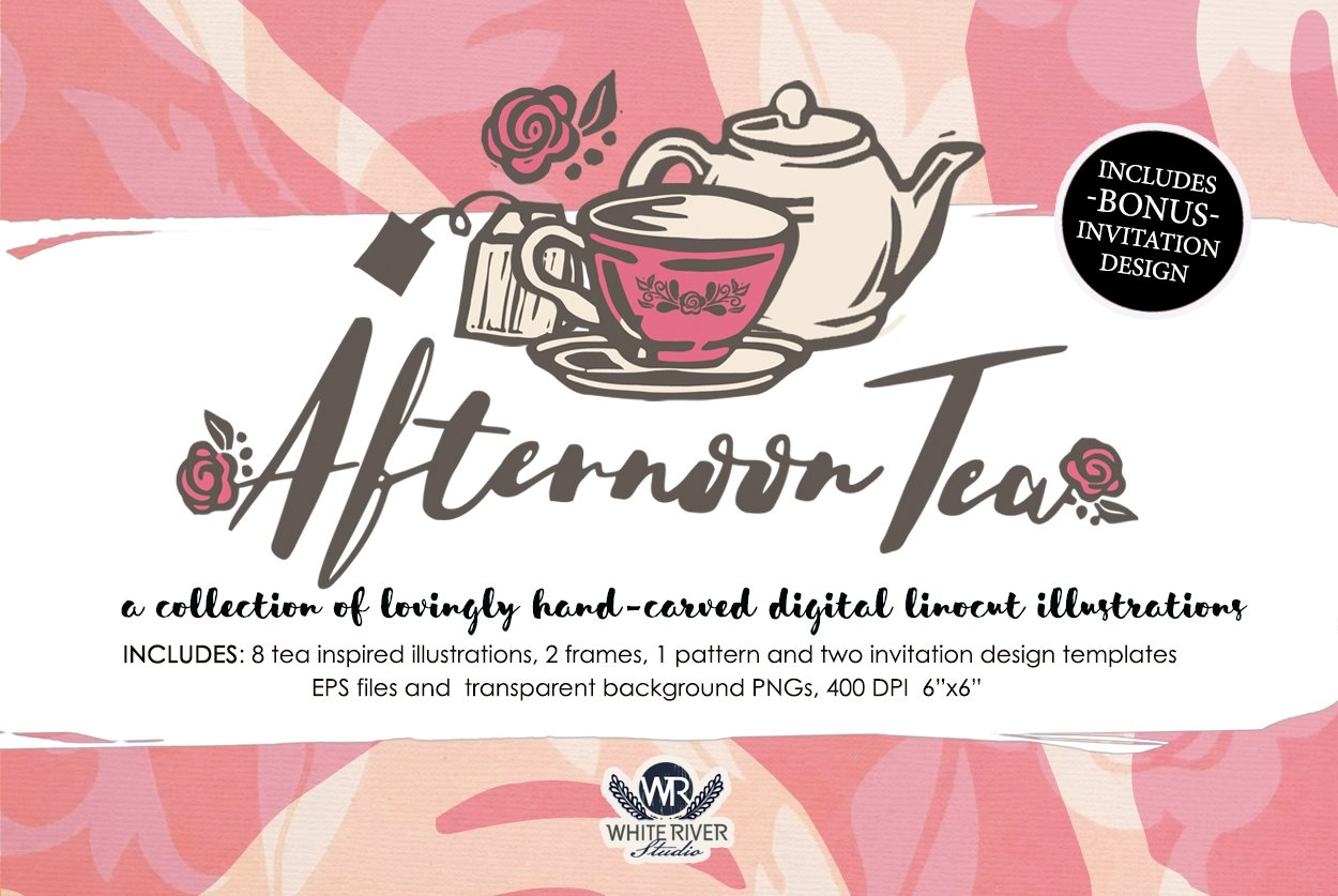 afternoon tea linocuts illustrations creative market