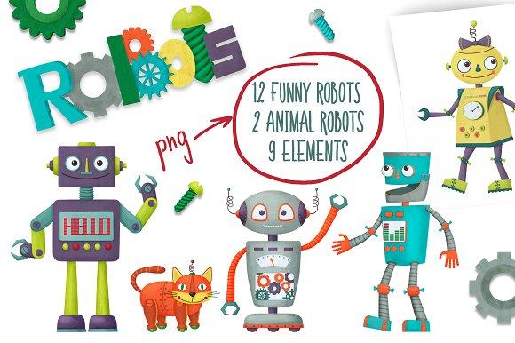 Set of cartoon robots-Graphicriver中文最全的素材分享平台
