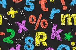 Colourful chalk alphabet letters