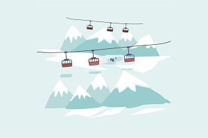 Cable car to snowy mountains design