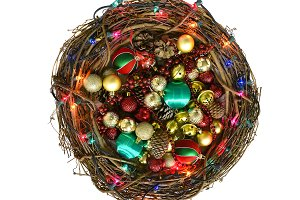 Twig Christmas Wreath filled with Or