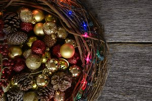 Christmas Ornaments on Rustic Wood T