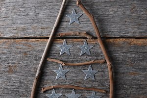 Twig Christmas tree shape with star