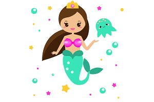 Cute mermaid amd jelly fish