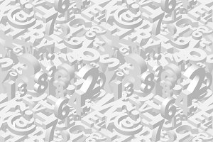 A lot of white isometric 3d letters