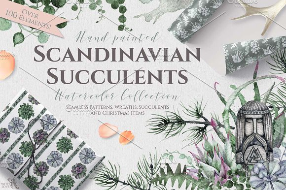 Watercolor Scandinavian Suc-Graphicriver中文最全的素材分享平台