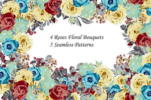 Roses Floral Bouquets and Patterns