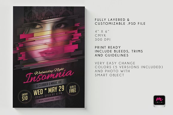 Minimalistic Party/Show Flyer 01 in Flyer Templates - product preview 3