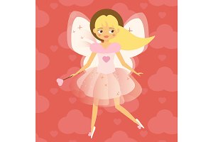 Cupid flying fairy. Valentine girl