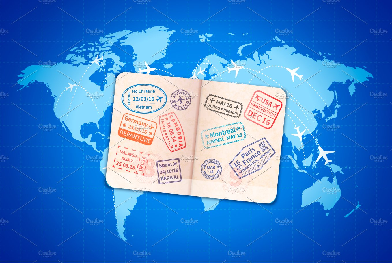 Foreign passport on blue map illustrations creative market gumiabroncs Gallery