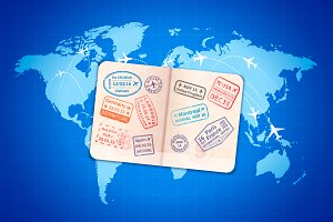 Foreign passport on blue map