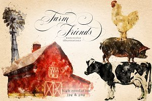 Farm Friends Watercolor Graphics