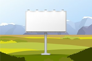 White empty billboard on landscape