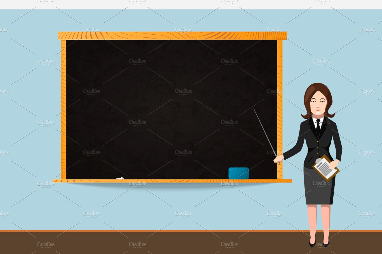 teacher with school chalkboard illustrations creative market