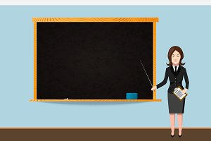 Teacher with school chalkboard