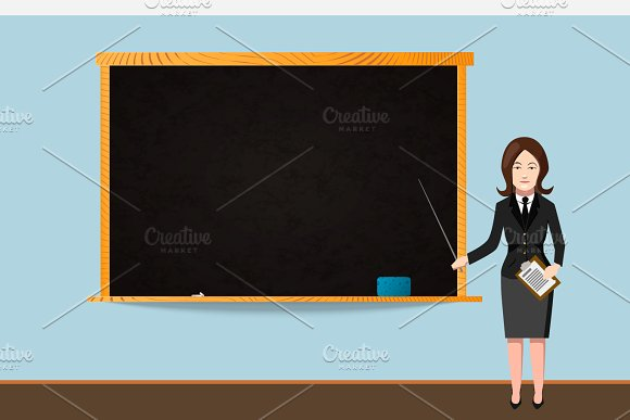 teacher with school chalkboard illustrations creative market