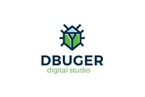 Dbuger Bug Beetle Logo Template