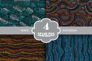 Embroidered Waves Seamless Patterns