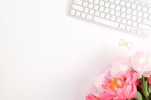 Styled photo - peonies & keyboard 2