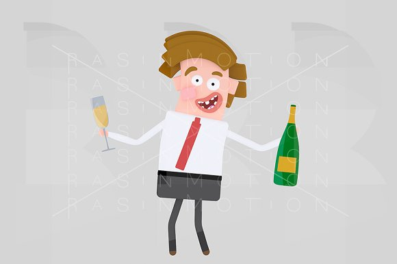 Man holding champagne bottle and gla