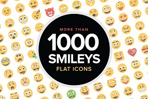 1000 Flat Smiley Icons