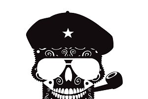 Che Guevara skull black and white