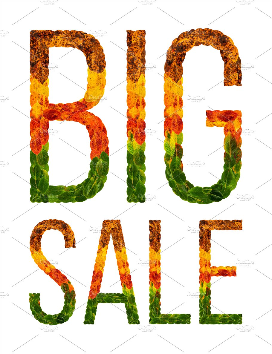 word big sale written with leaves white isolated background banner for printing creative - Pictures For Printing